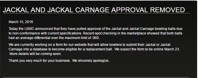 JACKAL AND JACKAL CARNAGE APPROVAL REMOVED