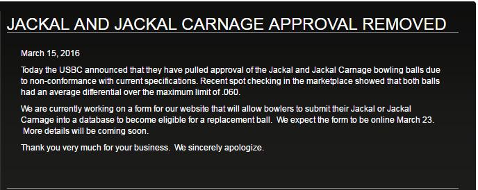 JACKAL AND JACKAL CARNAGE APPROVAL REMOVED